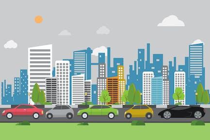 Traffic Jam - Fondo de ilustración