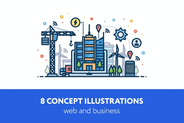 Thumbnail for 8 concept vector illustrations
