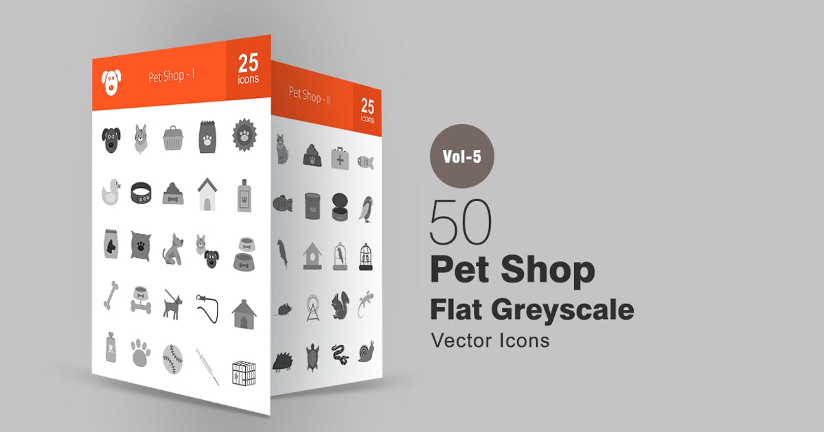 50 Pet Shop Greyscale Icons by Unknow