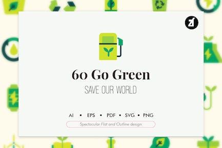 60 Go grüne Elemente Icon Pack