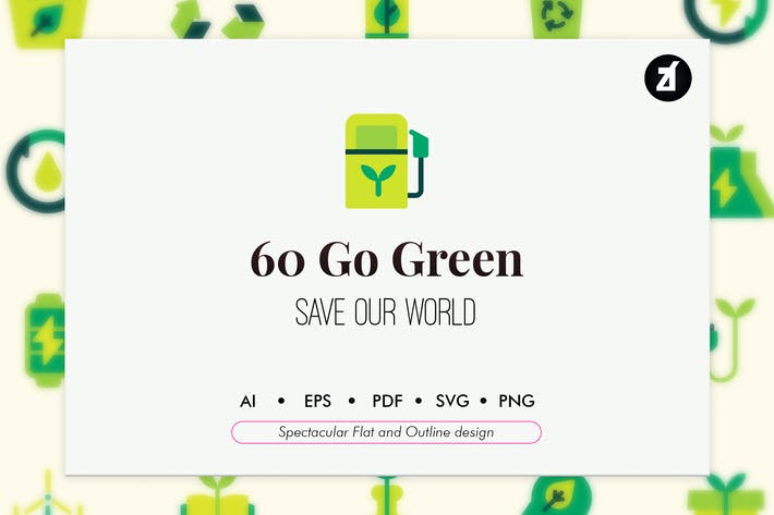 60 Go green elements icon pack