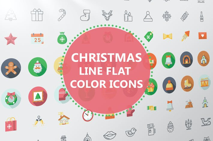 Thumbnail for Christmas Line Flat Color Icons