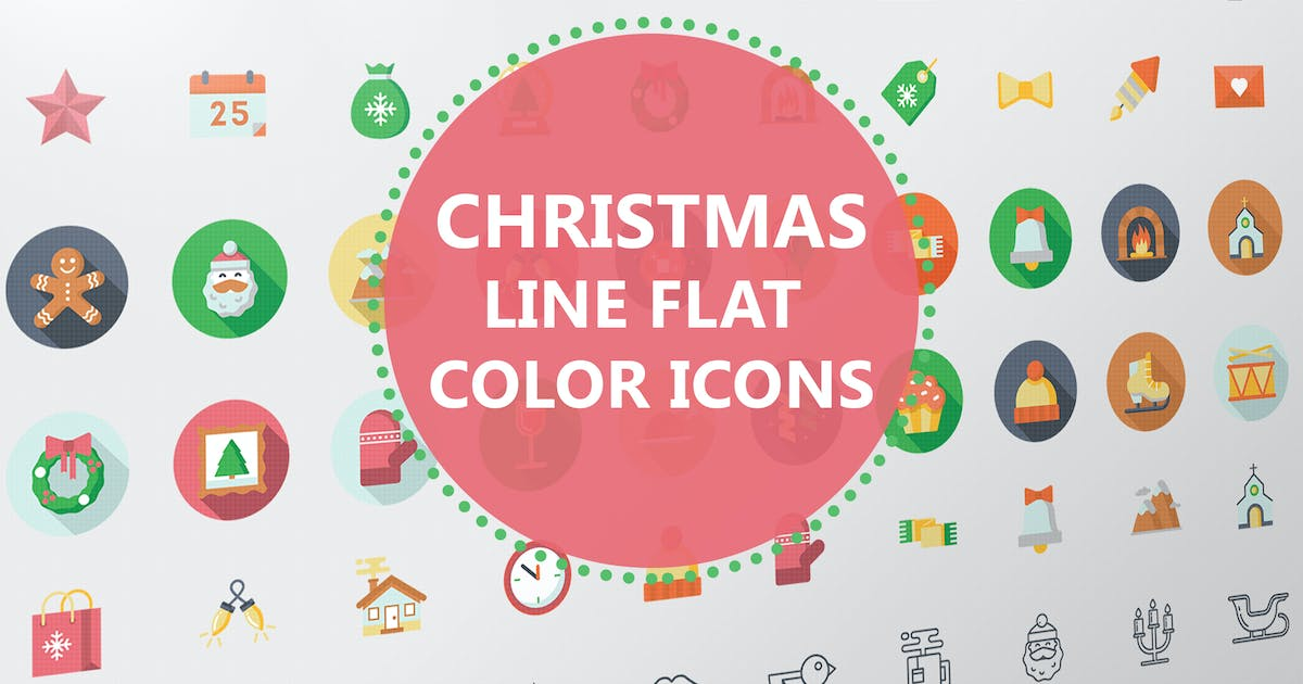 Download Christmas Line Flat Color Icons by Unknow