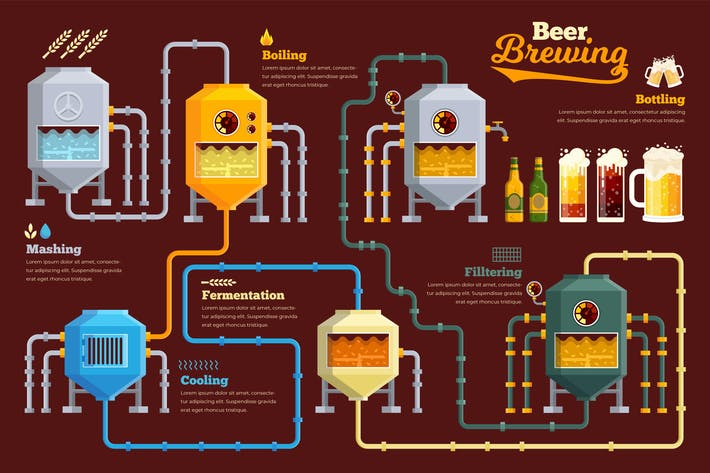 Thumbnail for Beer Brewing Infographic PSD and AI Vector