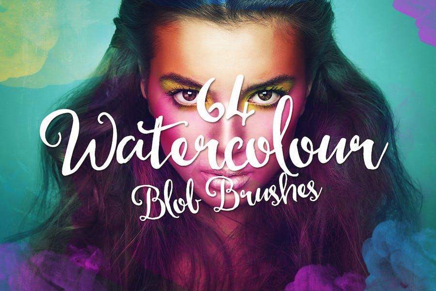 64 Watercolor Blob Brushes