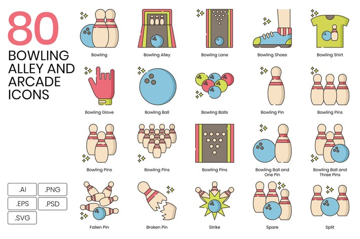 Thumbnail for 80 Bowling Alley and Arcade Line Icons