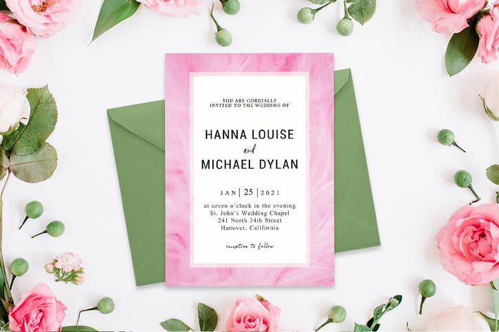 Chantilly Pink Wedding Invitation Template