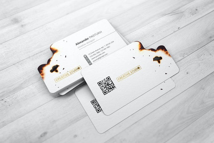 Thumbnail for Burnt Edges Business Card Mock-Up