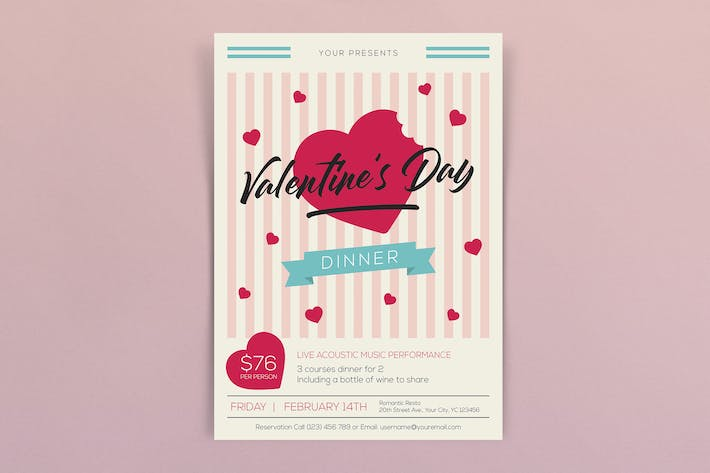 Valentines Day Dinner Flyers