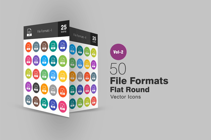 Thumbnail for 50 File Formats Flat Round Icons