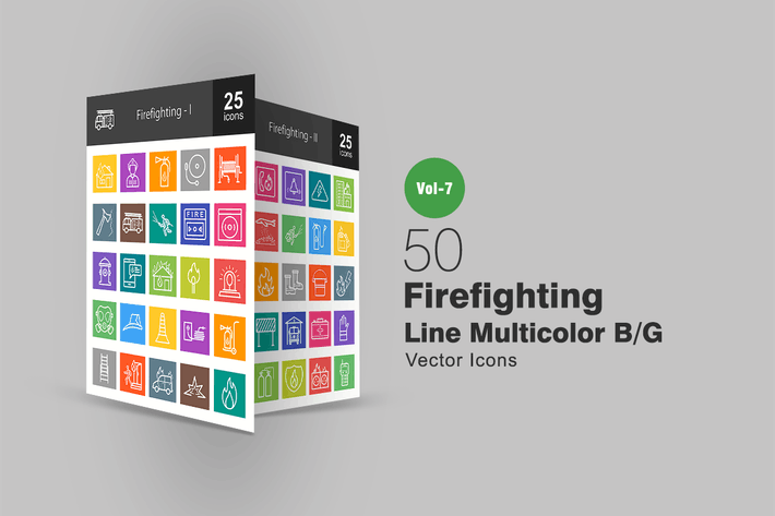 Thumbnail for 50 Firefighting Line Multicolor B/G Icons