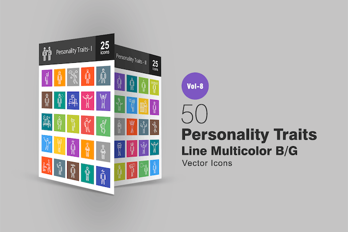 Thumbnail for 50 Personality Traits Line Multicolor B/G Icons