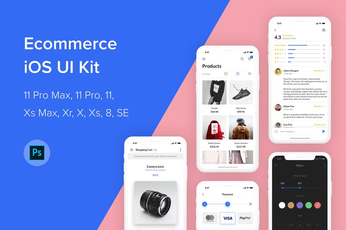 Thumbnail for Ecommerce iOS UI Kit (Photoshop)