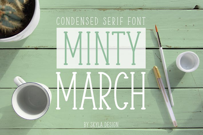 Thumbnail for Condensed serif font, Minty March