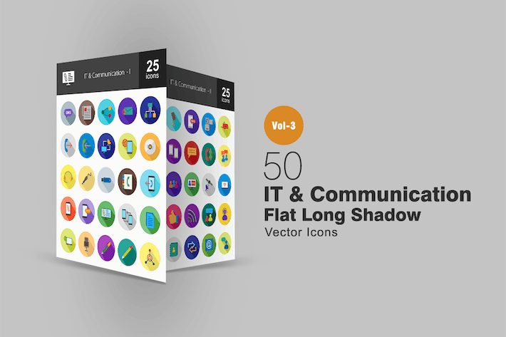 Thumbnail for 50 IT & Communication Flat Shadowed Icons