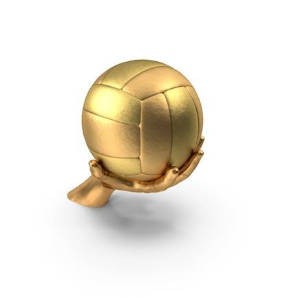 Golden Hand Holding a Golden Volleyball Ball