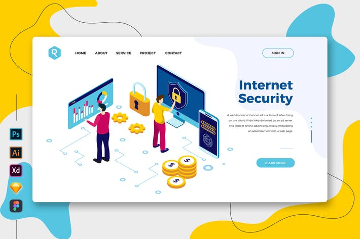Thumbnail for Internet Security - Web & Mobile Landing Page
