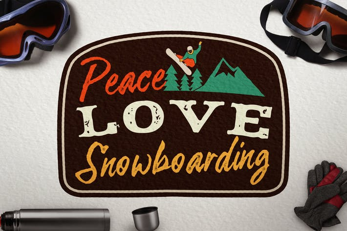 Cover Image For Snowboarding Badge, Vintage Winter Logo Patch