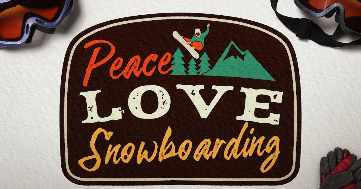 Snowboarding Badge, Vintage Winter Logo Patch by JeksonJS