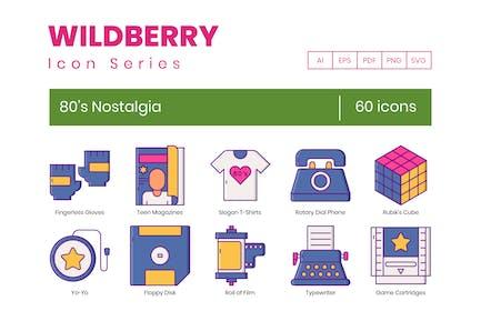 60 Eighties 80's Nostalgia Icons - Wildberry Serie
