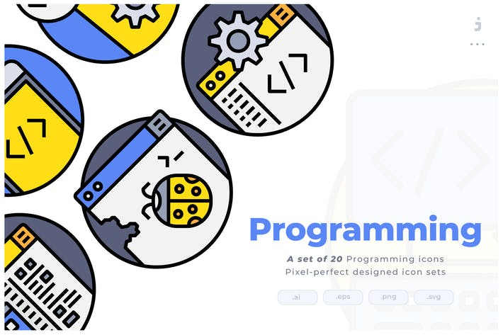 20 Programming Colorline Circular Icon set