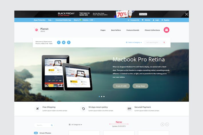 Thumbnail for Planet Store - Ecommerce HTML Template
