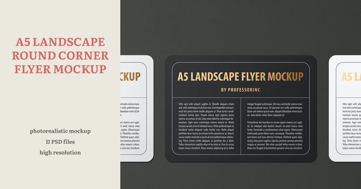 Download A5 Landscape Round Corner Flyer Mockup by professorinc
