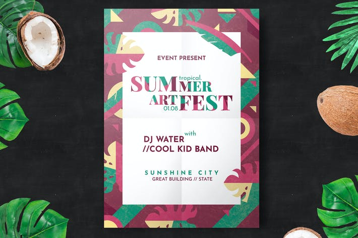 Cover Image For Minimal Summer Festival Flyer Template