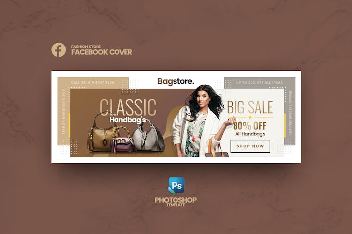 Thumbnail for Bagstore - Fashion Store Facebook Cover Vorlage