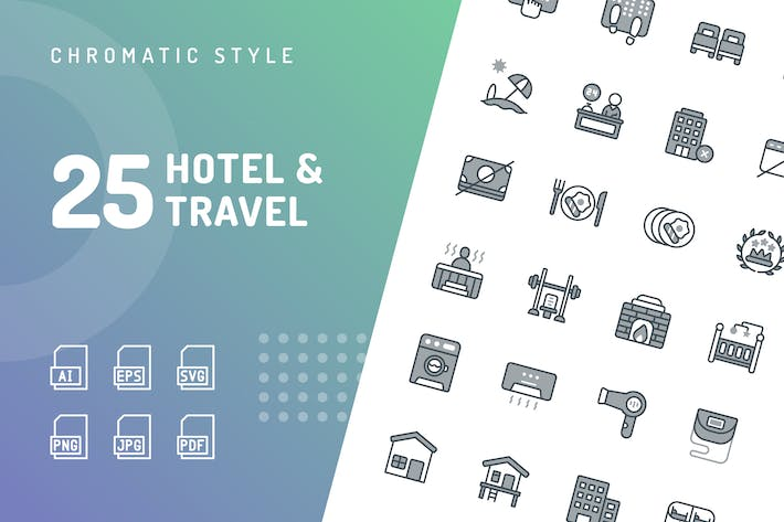 Thumbnail for Hotel & Travel Chromatic Icons