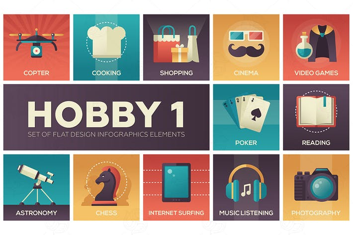 Cover Image For Hobby - set of flat design infographics elements