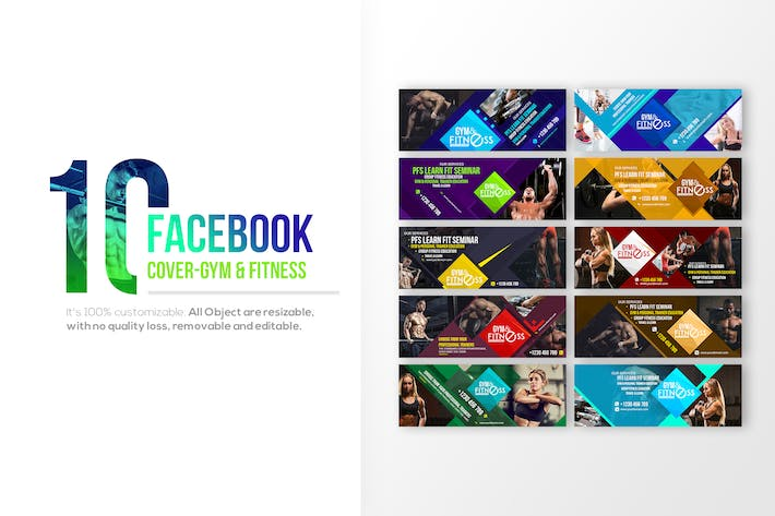 Thumbnail for 10 Facebook Cover - Fitness & Gym