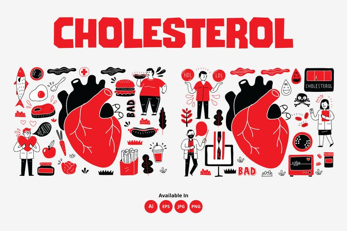 Thumbnail for Cholesterol, heart medical related doodle