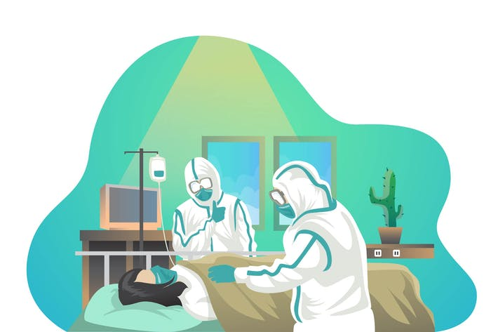 HOSPITAL WORKERS - Vector Illustration
