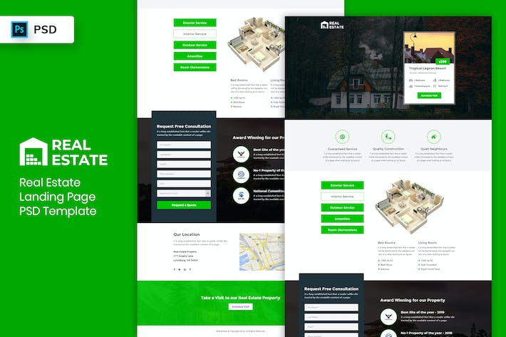 Thumbnail for Real Estate - Landing Page PSD Template-03