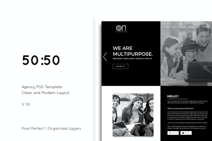 Thumbnail for 50-50 Creative Agency PSD Template