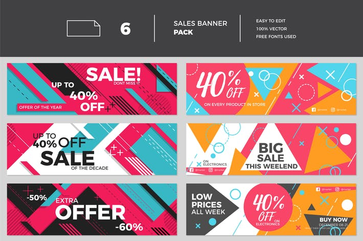 Thumbnail for Modern Flat Sales Banner Collection