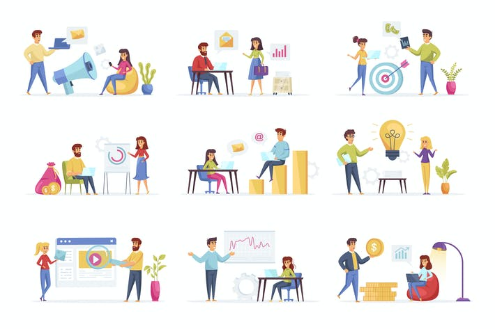 Thumbnail for Marketingmenschen Charakter-Situation Szenen