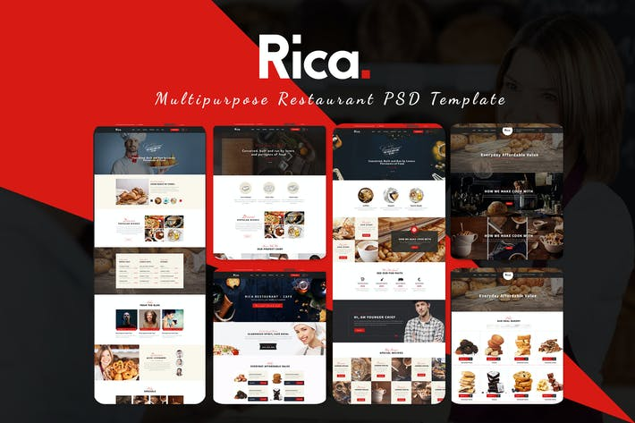 Thumbnail for Rica - Multipurpose Restaurant & Cafe PSD Template