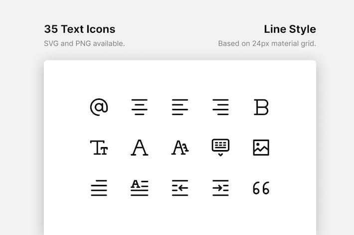 Texto y formato de Íconos de línea