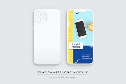 Clay smartphone showcase mockup