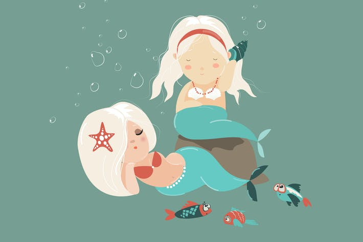 Thumbnail for Two little beautiful mermaid girls. Vector