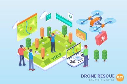 Isometrische Drohne Rescue Vektor Konzept