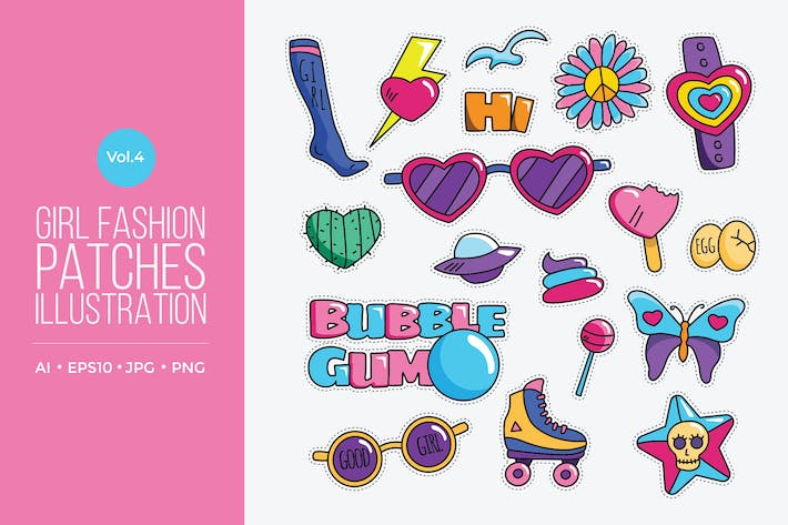 Cover Image For Girl Power Fashion Vector Patches Vol.4