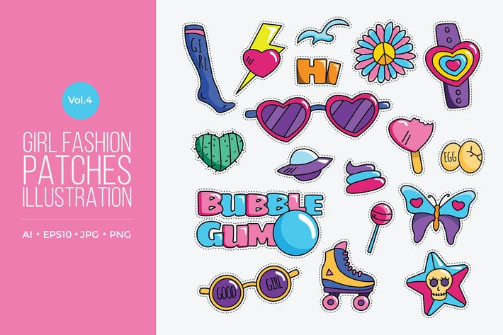 Thumbnail for Girl Power Fashion Vector Patches Vol.4