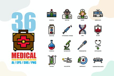 Medical Filled outline Style Icon set