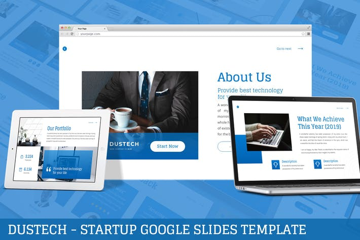 Thumbnail for Dustech - Startup Google Slides Template