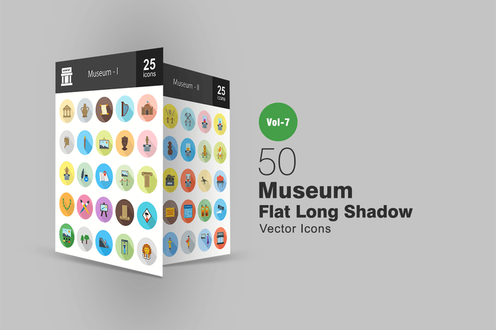 Thumbnail for 50 Museum Flat Shadowed Icons