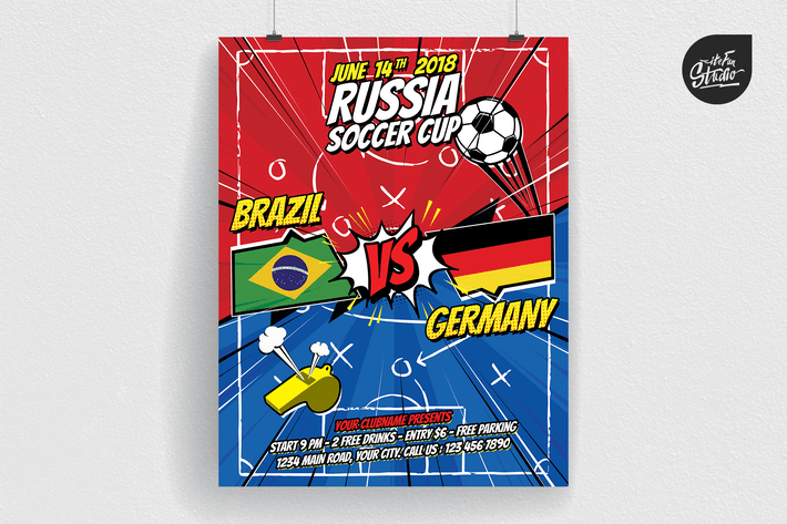 Thumbnail for Comic Style World Soccer Cup Russia 2018 Flyer