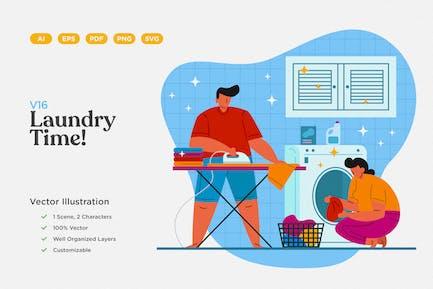 Laundry Cleaning Flat Illustration